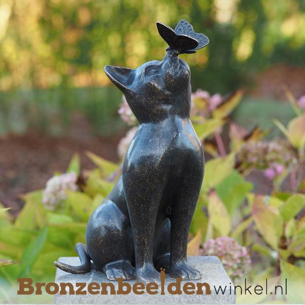 Bronzen katten beelden - beeld poes