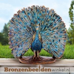 bronzen pauwen beelden, beeld pauw